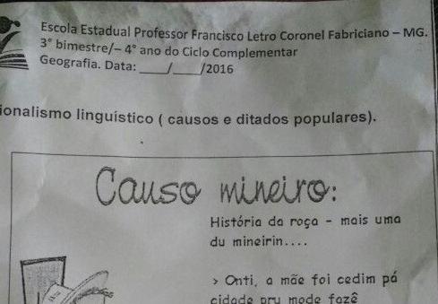 Maispb Pais Veem Frase Obscena Em Atividade Escolar Para Alunos Da