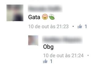 Em comentário, suspeito chama vítima de gata (Foto: Reprodução/Facebook)