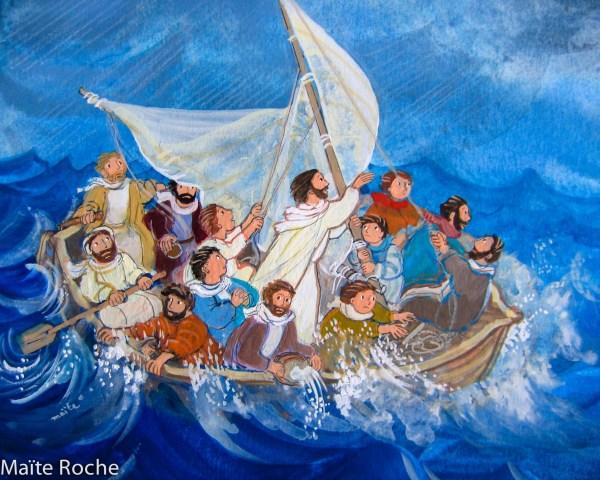 La tempête apaisée, détail, La Belle histoire de Jésus, Maïte Roche, Mame