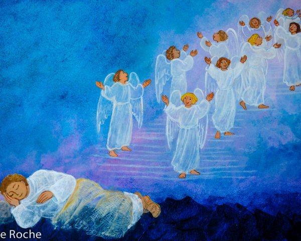 L'échelle de Jacob, détail, La belle histoire de la Bible, Maïte Roche, Mame