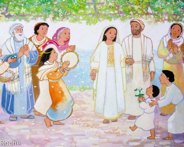 Le mariage de Marie et Joseph, détail, La plus belle histoire de Noël, Maïte Roche, Mame