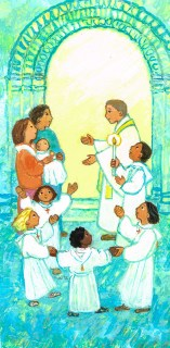 Baptême, prêtre, cérémonie, église, Signet- Maïte Roche