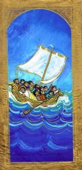 tempête apaisée, jésus, barque, Signet- Maïte Roche