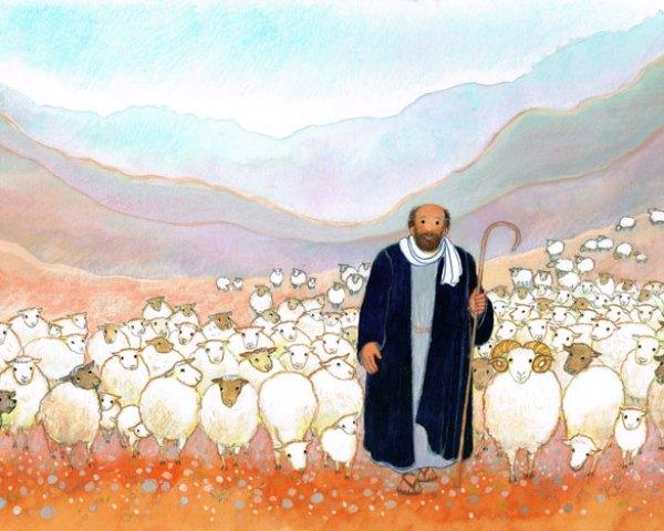Le berger et son troupeau, dessin préparatoire pour Le bon berger, Maïte Roche, Mame, 1982