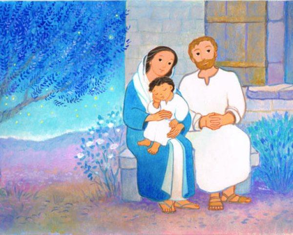 La Sainte Famille, dans Une journée avec Jésus, Maïte Roche, Mame