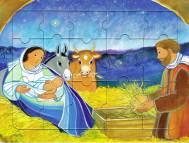 La naissance de Jésus, puzzle 16 pièces, Maïte Roche, Mame