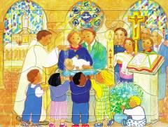 Le jour du baptême, puzzle 16 pièces, Maïte Roche, Mame