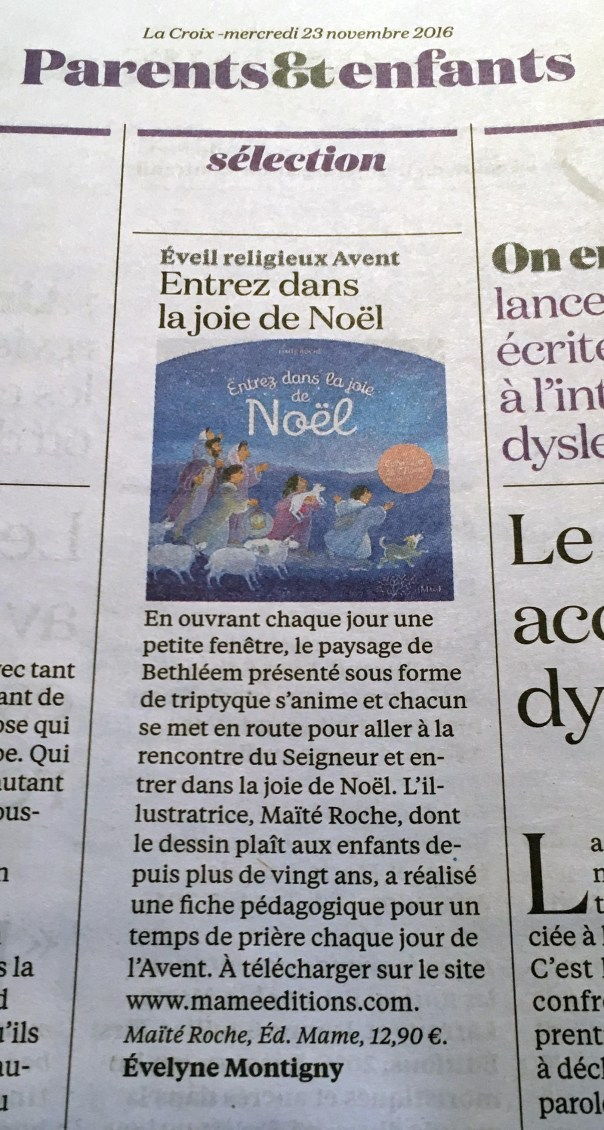 Article de la Croix d'Évelyne Montigny - 23 novembre 2016