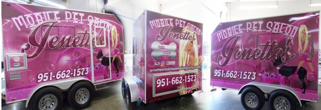 Mobile Pet Salon Girly Pink Design Trailer