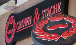 Outdoor Signs - Push Through Acrylic - LED Cabinet - Crown_Stache