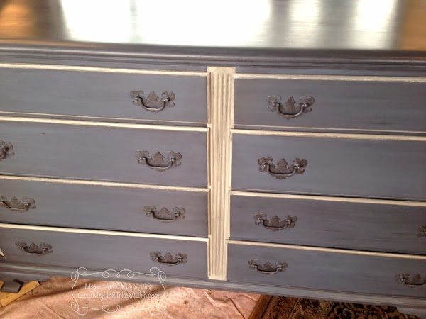 Grey dresser white trim