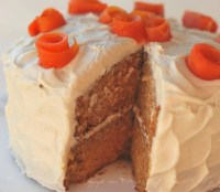 carrot cake with rolled sugar carrot flowers