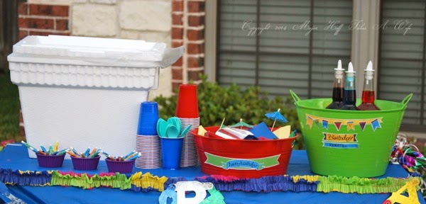 Hawaiian Shaved Ice Birthday Party Table Display with Dollar Tree Items