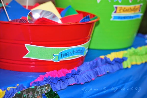 Jen Goode Rainbow Printable Happy Birthday on Dollar Tree bin