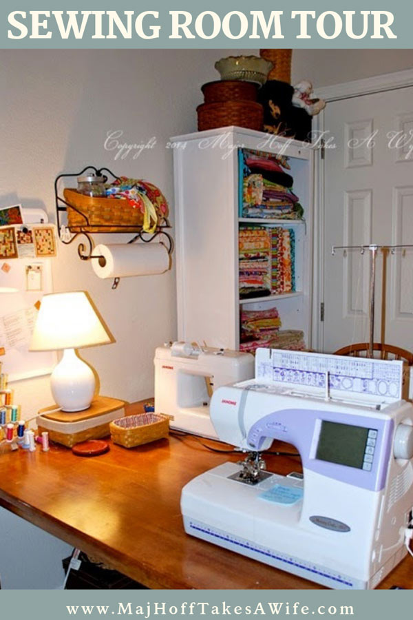Have a small sewing room? See how I used a kitchen table to hold 2 sewing machines and a serger. Lots of other ideas for craft storage! This basic room will get your creative juices flowing! via @mrsmajorhoff
