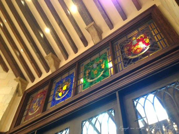 Stained Glass windows from Living room side with arched ceiling