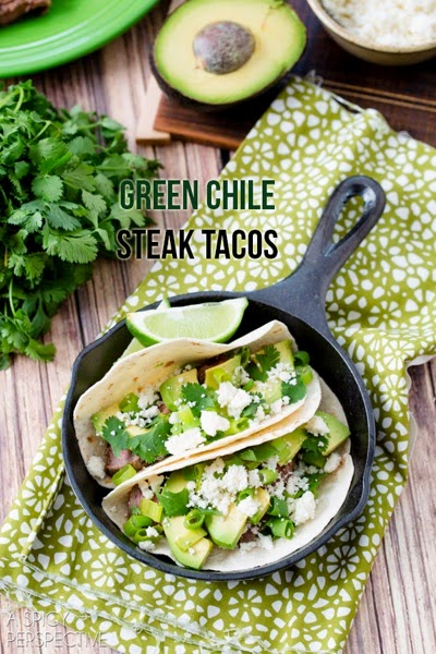 Green chile steak tacos by a spicy perspective