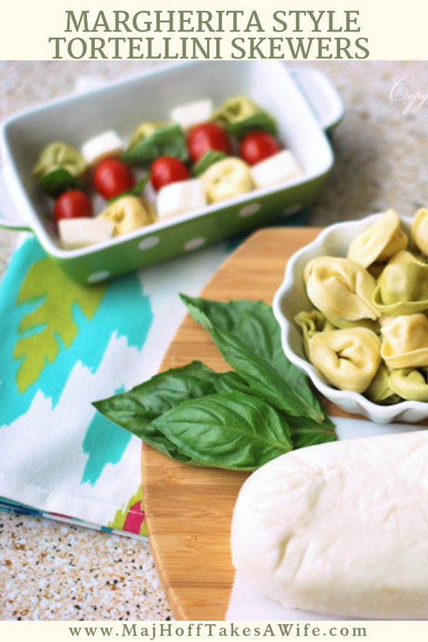 Looking for an easy appetizer to assemble in a flash? People love margherita style tortellini skewers. Loaded with your favorite tortellini, cherry tomatoes, basil and fresh mozzarella. They are the hit of a party! via @mrsmajorhoff