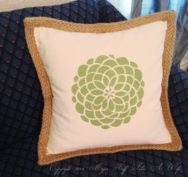 Tulip flower stencil on braided pillow blank