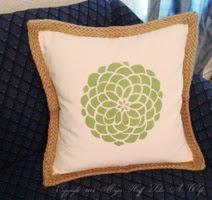 Tulip flower stencil on braided pillow blank