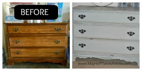 Chalk paint dresser before and after
