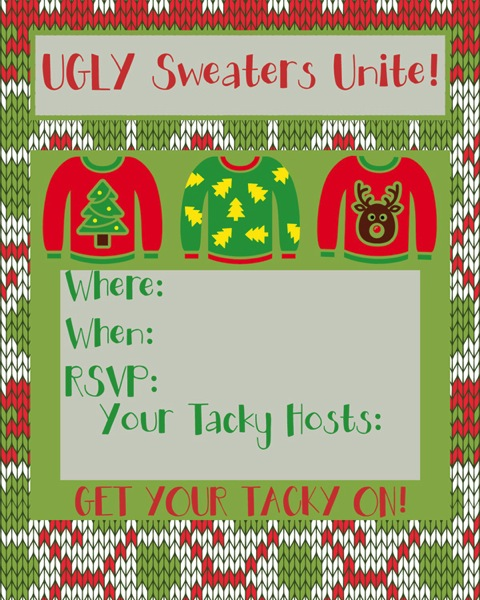 Get Your Tacky On Ugly Sweater Invite. Free printable available at Major Hoff Takes A Wife.