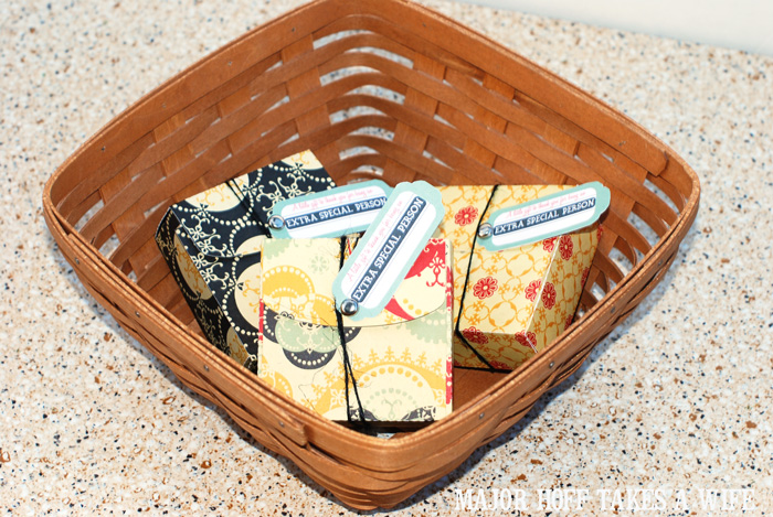Use scrapbook paper to make a cute little box to give Extra Chewing gum in
