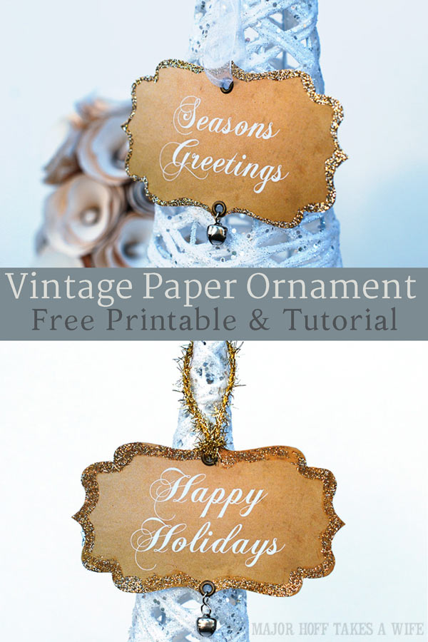 Vintage style paper Christmas ornaments are a fun retro way to decorate your tree. Fun shapes, a jingle bell and glittered edges make these free printable ornaments one of a kind! #Christmas #homemadeChristmas #printable #MHTAW via @mrsmajorhoff