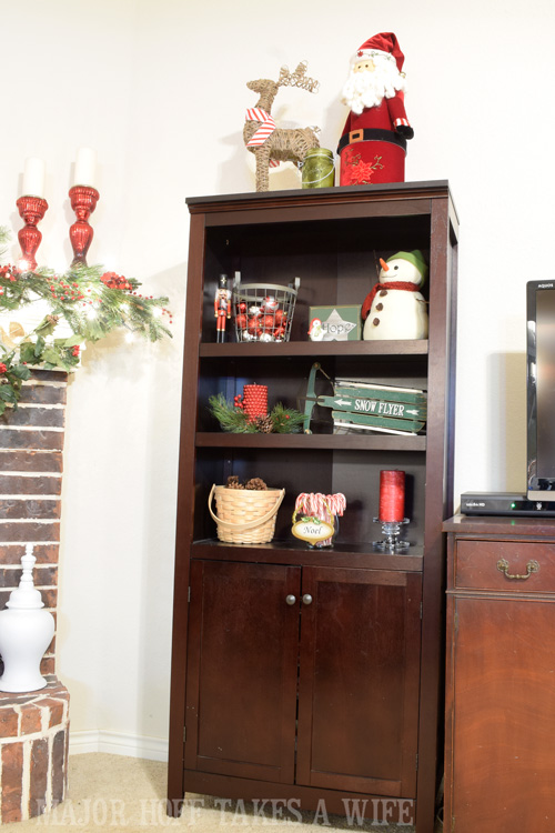 Bookcase dressed for Christmas