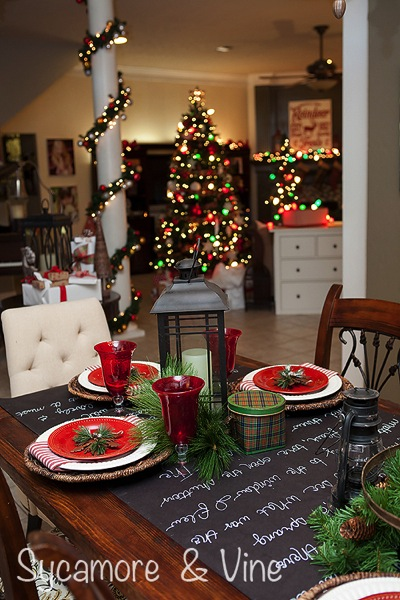 Plaid Country Christmas inspired tablescape.