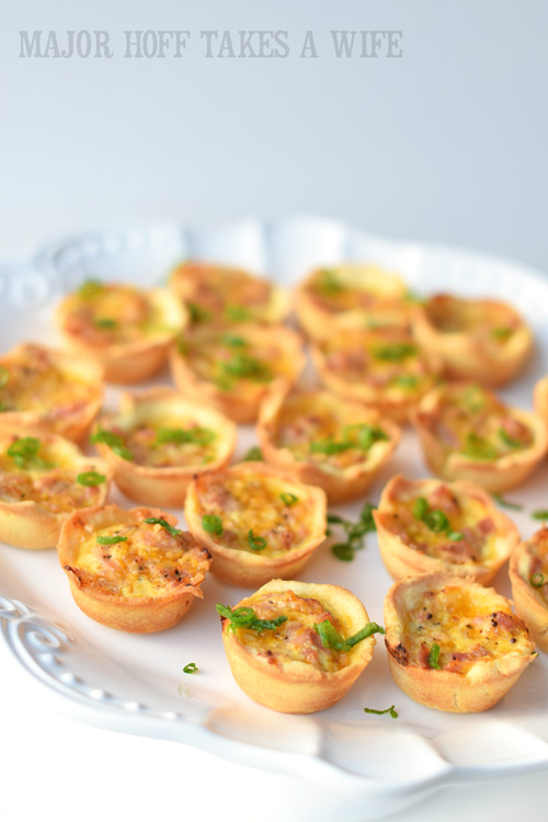 Mini ham puffs on a cake stand make an elegant display and are simply mini quiche that are gluten free!