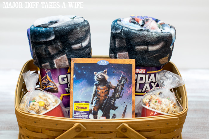 Guardians Of The Galaxy DVD gift basket idea. It's time for a Family Movie Night! You won't want to miss this recipe for the fabulous Movie Munch! Can you guess what the secret ingredient is? Post also shows how to create your own Guardians of the Galaxy Gift Basket, perfect for your favorite super hero fans, or for a Finals Survival kit. #OwnTheGalaxy #CBias #sp #ad