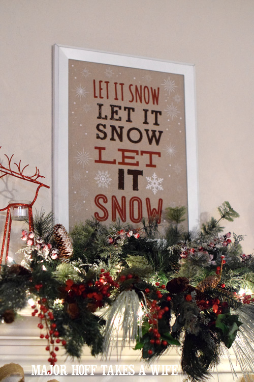 Let it Snow Christmas Mantel with ornaments and burlap