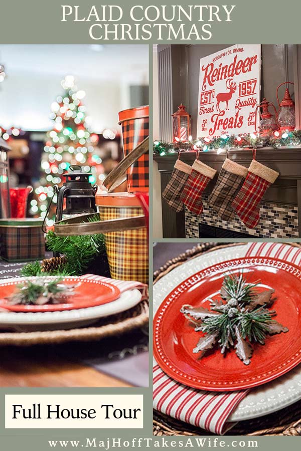 A truly stunning Christmas Home Tour as part of the Christmas in the Country Blog Tour. This Plaid Inspired Country Christmas will knock your socks off. Features tours of the Living room, Dining Room and a Cocoa hot chocolate bar in the Breakfast room. There is so much inspiration for Christmas decorations in this one post. Be prepared to feel like you are cuddled up by the fire in a warm Northwoods comfy cottage! #country #Christmas #Plaid #Holiday decorating #Holiday ideas #Holidays