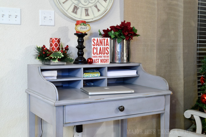Pottery Barn Desk decorated for Christmas