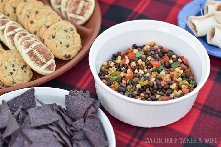 Black bean and corn salsa for a fun tex mex tailgating party