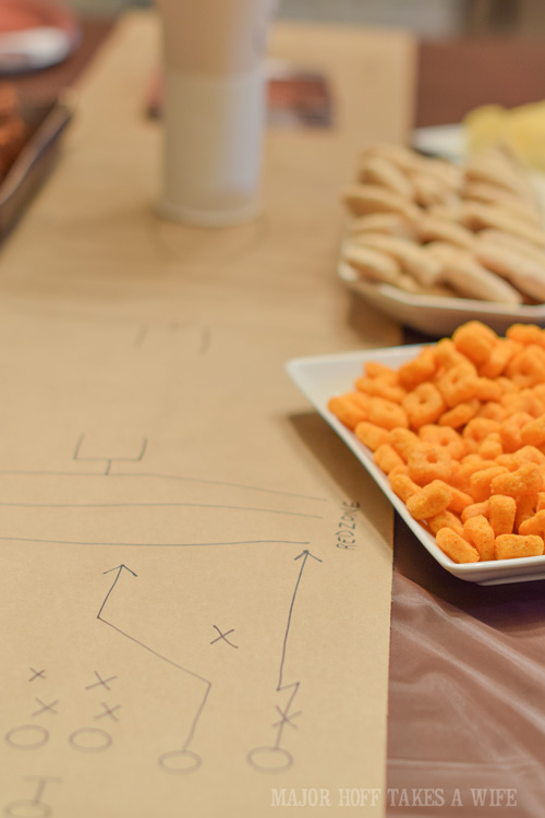 Make your own Football Play table runner. An easy to throw party for the Big Game. Features easy party ideas for snacks, dips and decor. Includes a recipe for Roasted Red Pepper Hummus without seeds! #BigGameSnacks #collectiveBias #ad