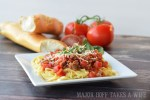sausage marinara spaghetti is a family favorite