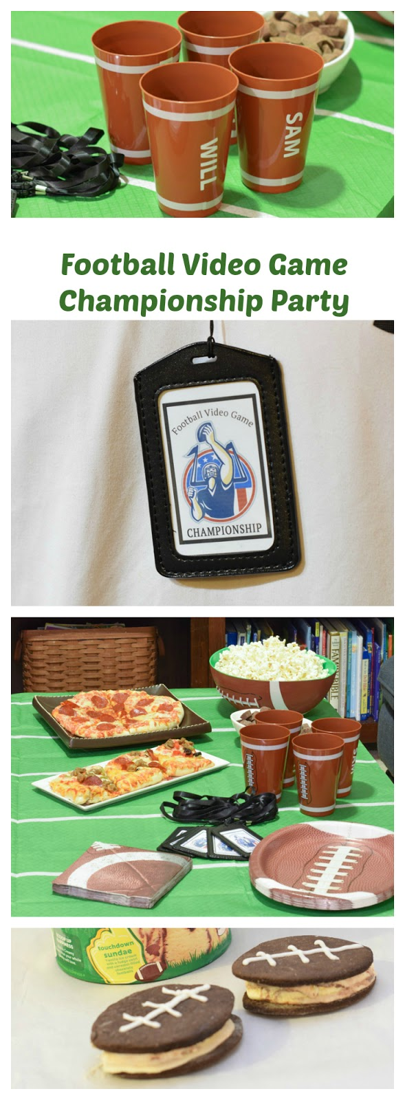 Football video game party ideas! Looking for a fun party for your teenage boy? Why not throw a Football video game party? Easy ideas for how to entertain kiddos during the Big Game. Features DiGiorno pizza, personalized football cups, free printable lanyards, and an incredible recipe for football shaped ice cream sandwiches! #GameTimeMVP #CollectiveBias #ad
