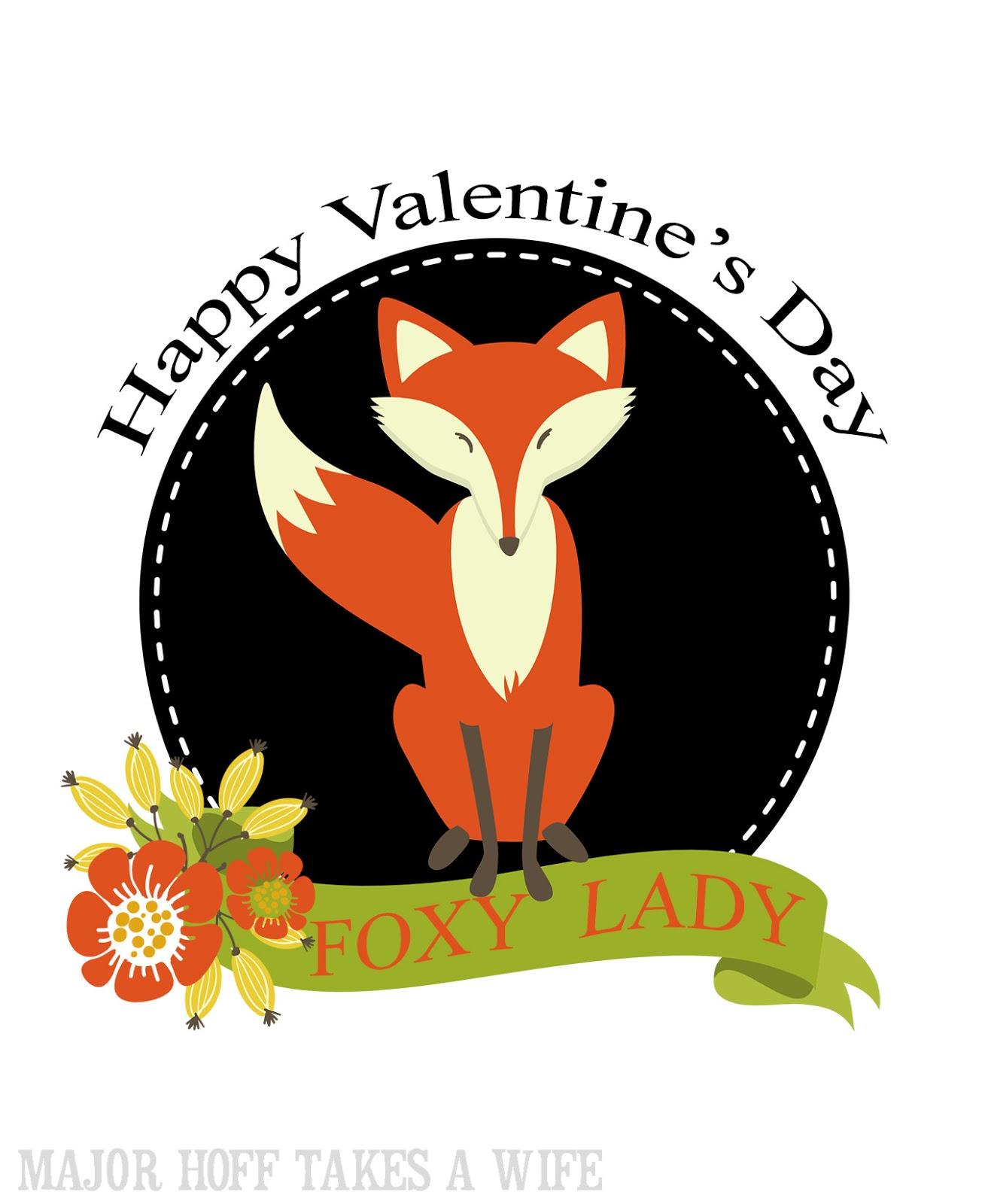 Happy Valentine's Day Foxy Lady Free Printable Cards