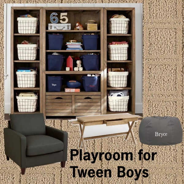 Playroom for Tween Boys. A nice relaxing color scheme for a tween playroom. Add pops of color to rotate out.