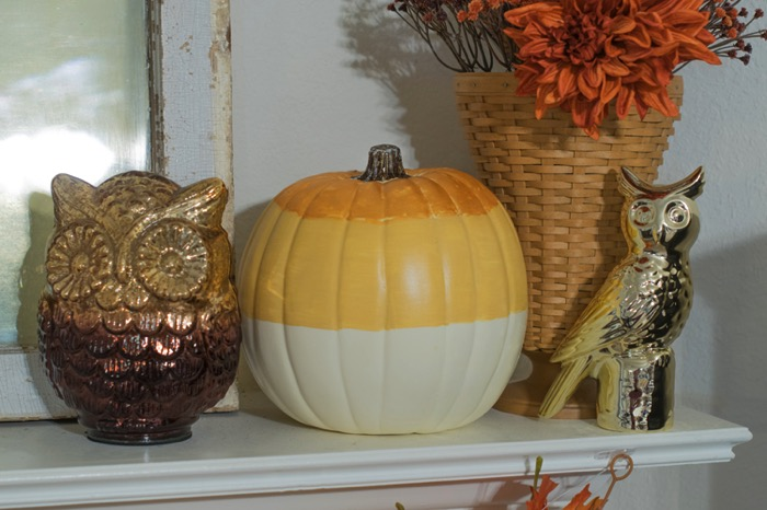 A candy corn style pumpkin