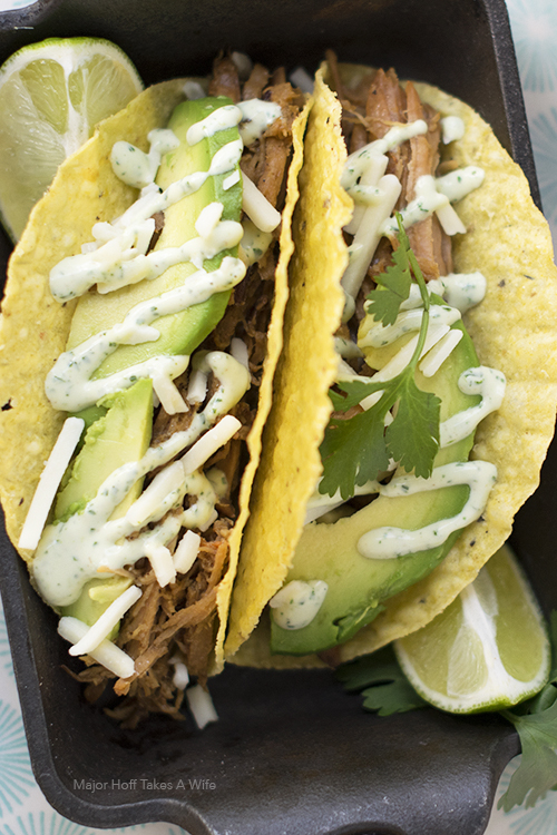 Crock pot pork tacos with cilantro aioli