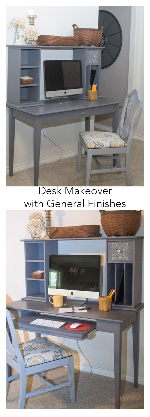 """A standard cherry Target type desk with hutch is revamped with General Finishes Milk Paint in Driftwood. Part of the Fab Furniture Flippin' Contest. Entered into the September 2015 """"geometric"""" contest. Stencil design used on drawers. #paint #milkpaint #generalfinishes #FFFC #furniture #flip"""