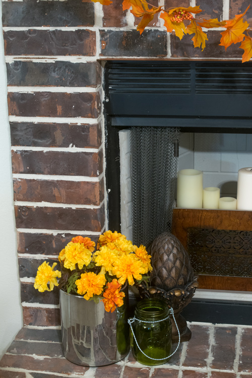 Flowers, acorn and a jar for fall decor