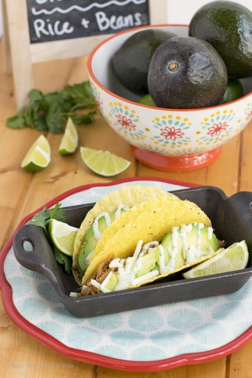 Shredded pork tacos recipe.