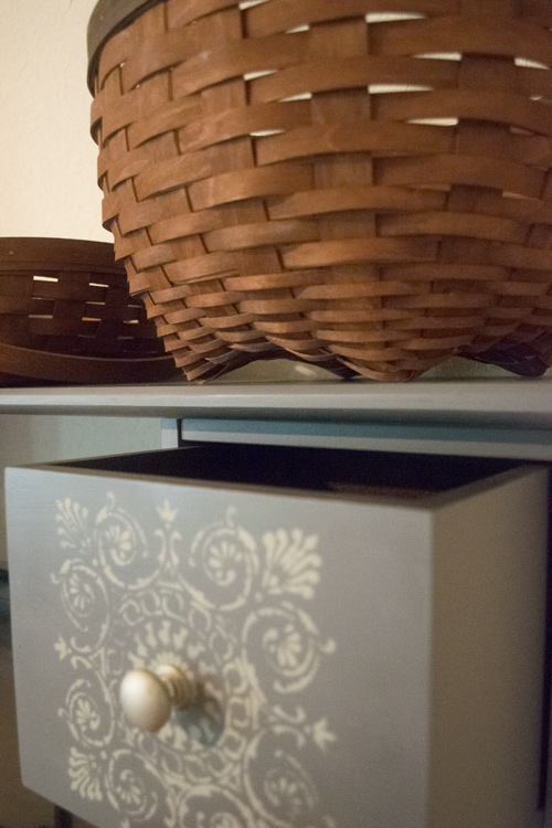 Stenciled drawer