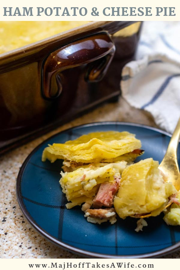 This ham potato and cheese pie recipe is just what you need when you are seeking comfort foods. Families love the layered sliced potatoes baked with a white sauce similar to scalloped potatoes. This savory dish features puff pastry for the crust. A warm and comforting main dish with ham added in! #ComfortFood #potatoes #Cheesy #savory #pie #MHTAW via @mrsmajorhoff