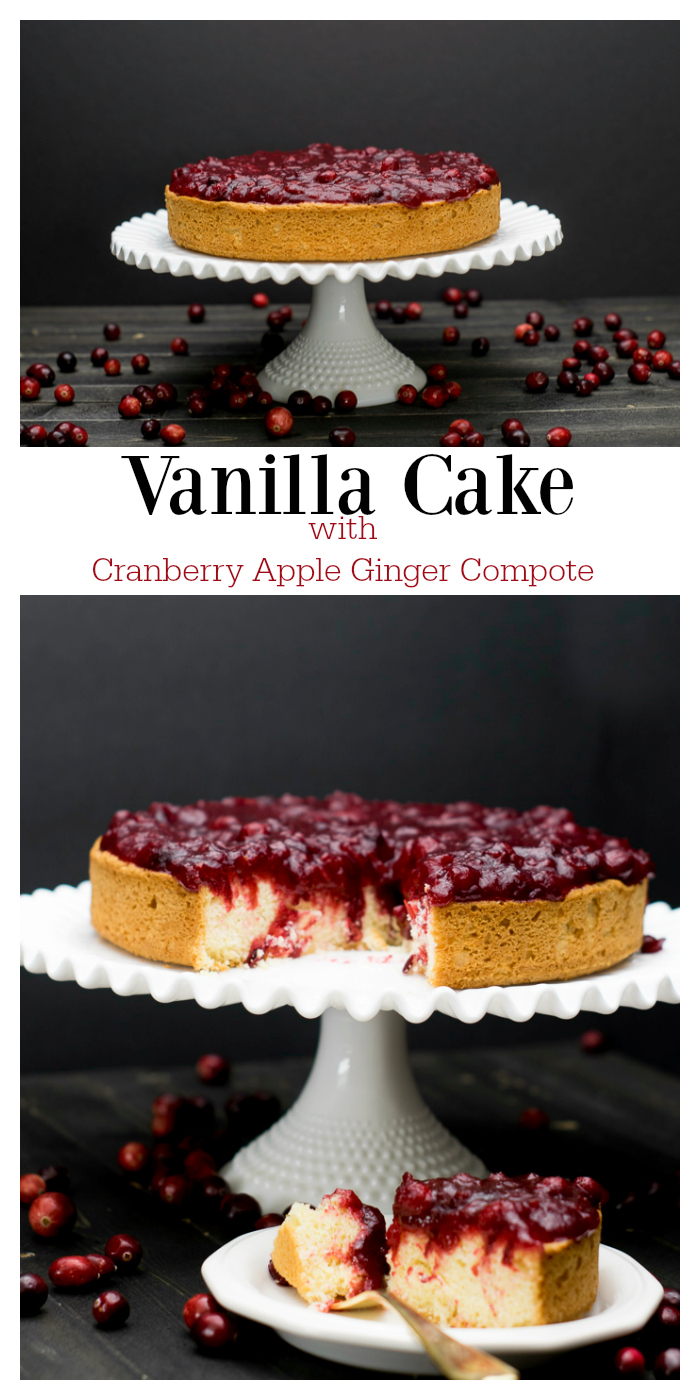 This dense cake with a tart compote is sure to become a holiday favorite! The vanilla cake reminds you how simple desserts are the best, and the cranberry compote adds color and flavor to your holiday table. Perfect for Thanksgiving or Christmas. #ad #HolidaywithGlade #Christmas #Cranberry #Thanksgiving #Dessert