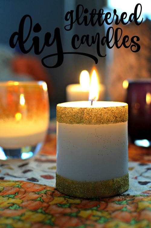 Glitter striped candle